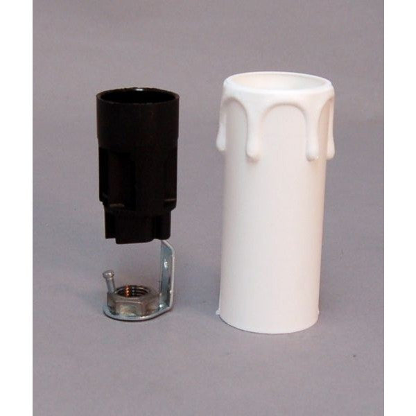 Candle Drip White Plastic Bracket and E14 Lampholder 29mm x 70mm