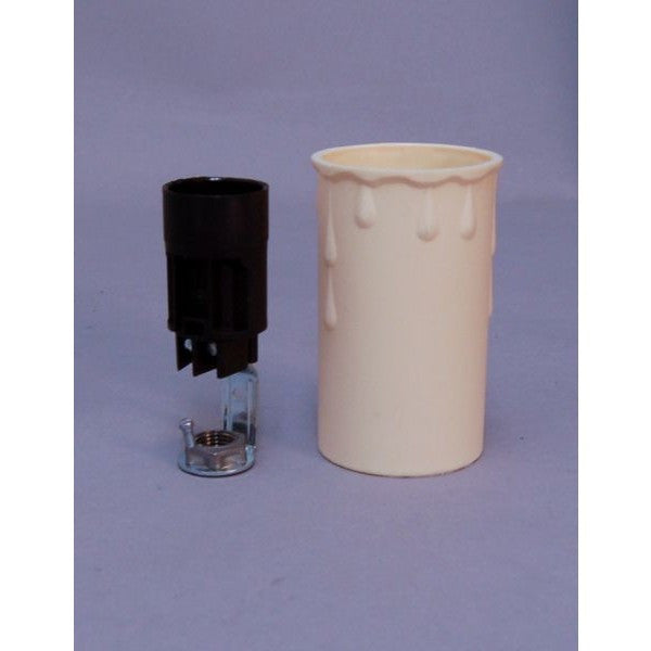 Candle Drip Cream Plastic Bracket and E14 Lampholder 40mm x 70mm