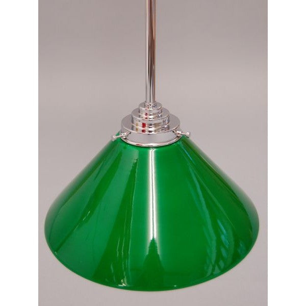 Art Deco Style Ceiling Pendant Light With Green Glass