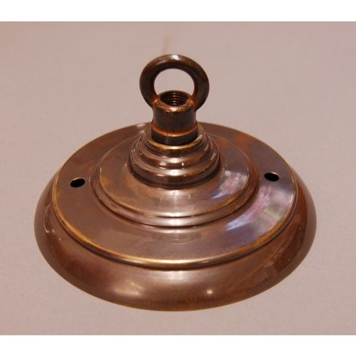 ADCRRH/H - Aged Brass Ceiling Rose & Ring Hook - Art Deco Style