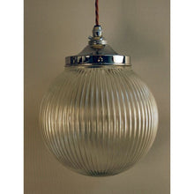 Cord Pendant and Prismatic Globe Glass Light Shade