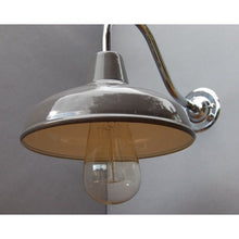 Factory Style Wall Lights - Enamel Shade with  Chrome Goose Neck - 30S-GNWLL - Grey Enamel Shade