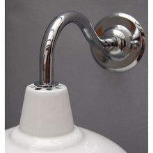 Factory Style Wall Lights - Enamel Shade with Chrome Goose Neck - 30S-GNWLS - White Shade