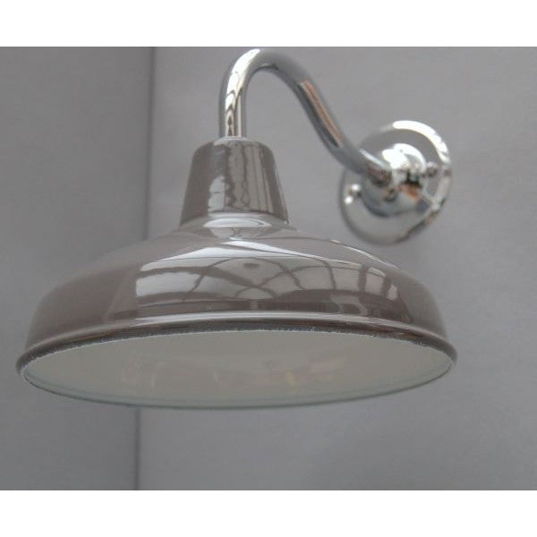 Workshop Style Wall Lights - Enamel Shade with Chrome Goose Neck - 30S-GNWLS - Grey Shade