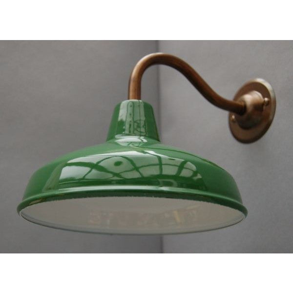 Factory Style Wall Light - Enamel Shade with Aged Brass Swan Neck ...