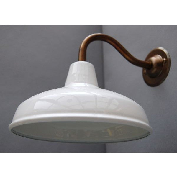 Factory Style Wall Lights - Enamel Shade with Aged Brass Goose Neck - 30S-GNWLS - White Shade