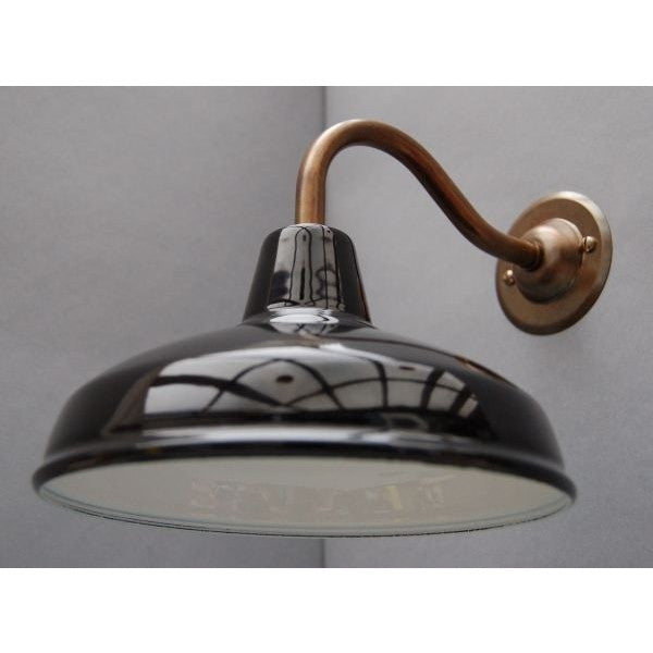 Factory Style Wall Lights - Enamel Shade with Aged Brass Goose Neck - 30S-GNWLS - Black Shade
