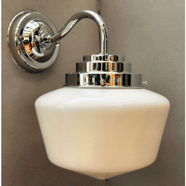 1930's Style Wall Light with Glass Schoolhouse Shade