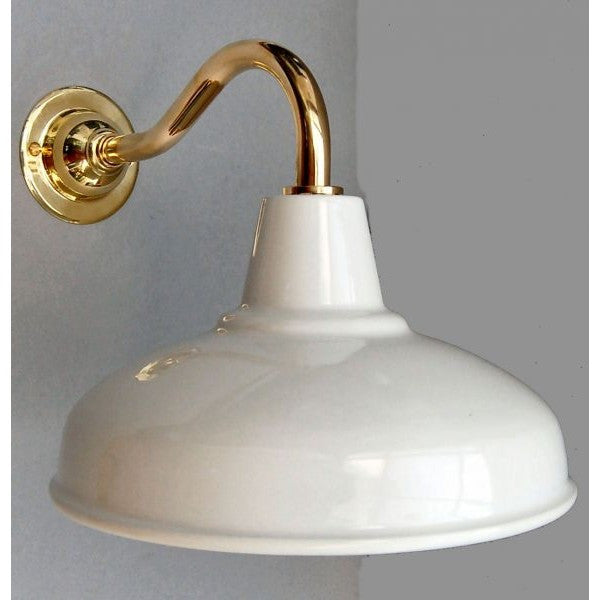 Factory Style Goose Neck Wall Lights - Enamel White Shade - 30S-GNWLS - PB