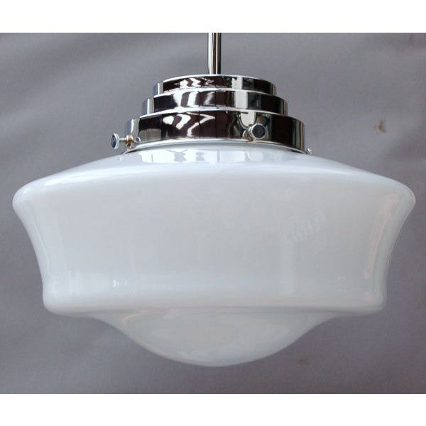 Milk Glass School House Pendant Light