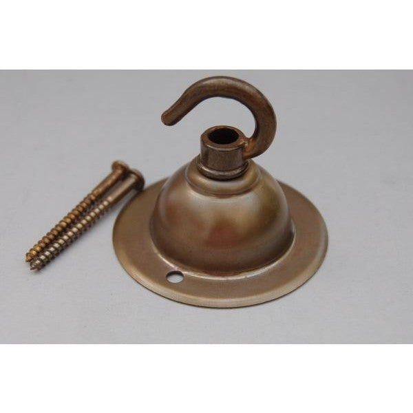 Aged Brass Ceiling Plate and Open Hook - 3099RH