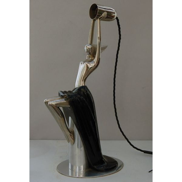 Art Deco Nickel & Ebonised Figural Lady Lamp