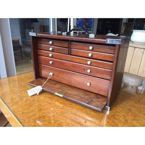 1940's Engineers Mahogany Cabinet Tool Chest - Fully Restored
