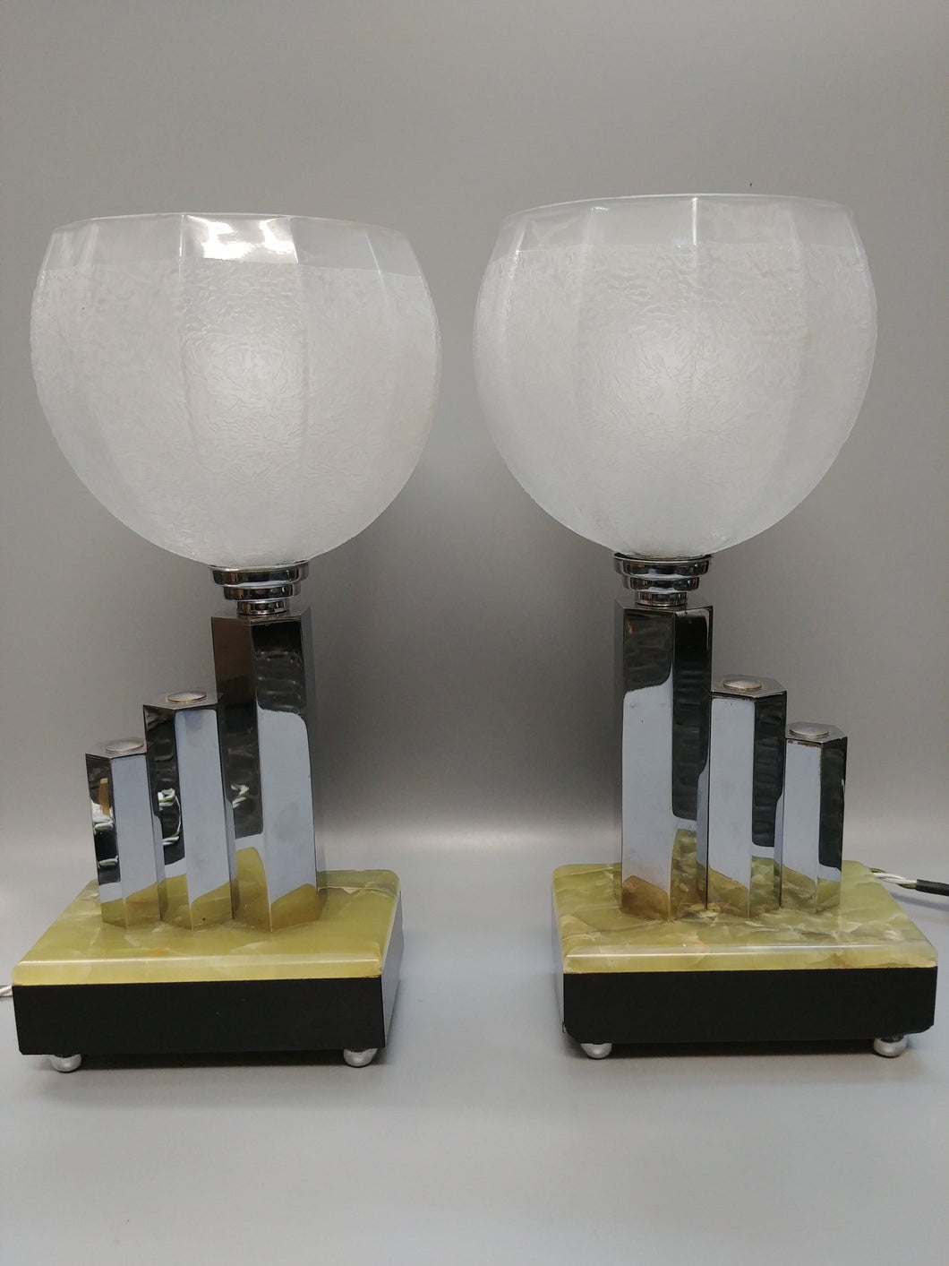 Rare Pair of Geometric Table Lamps