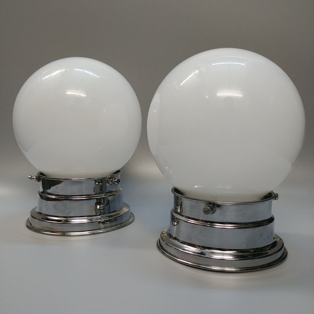 Original Flush Mounted Ceiling Lights Pair - Opal Globes