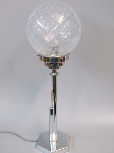 Original Art Deco Desk Lamp with Vaseline Glass Dimpled Shade