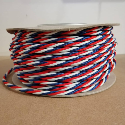 Tricolour Twisted Braided Flex 0.5 - 3 Core Red, White & Blue