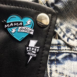 Punky Moms Bolt And Mama Gang Blue Heart Enamel Pin