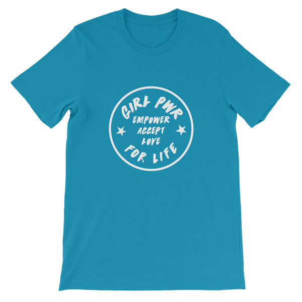 EMPOWER ACCEPT LOVE GIRL PWR Short-Sleeve Unisex T-Shirt (Available in 11 Colours, Up to 4XL)