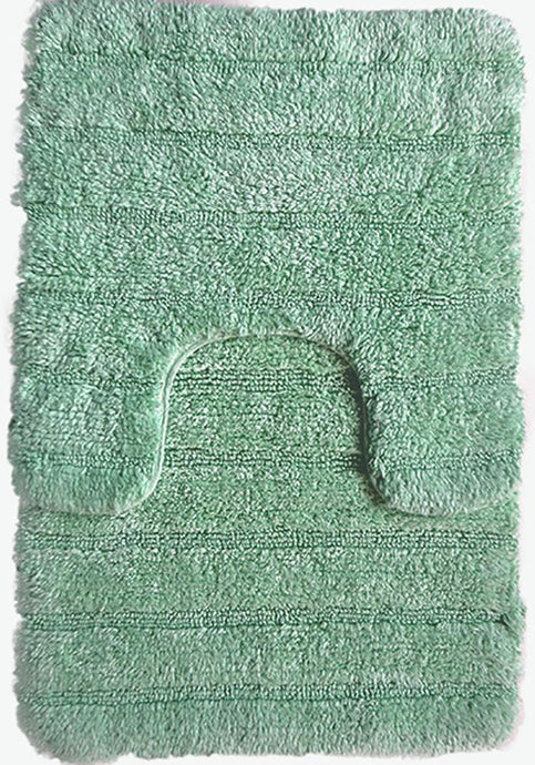Stripe Cotton Bath Mat Set Light Green-Bath Mat Set-Rugs 4 Less