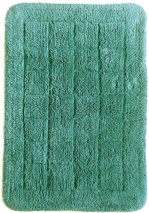 Cotton Bath Mat Teal-Bath Mat-Rugs 4 Less