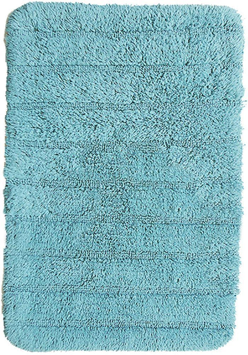 Stripe Cotton Bath Mat Aqua-Bath Mat-Rugs 4 Less