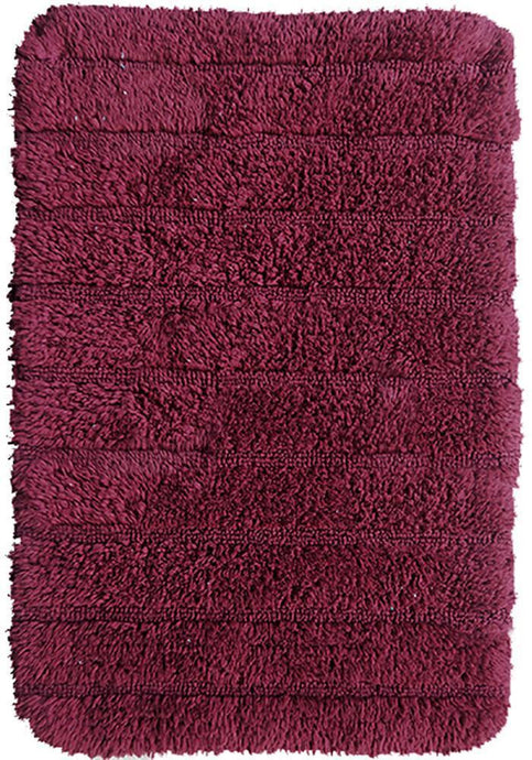 Stripe Cotton Bath Mat Red-Bath Mat-Rugs 4 Less