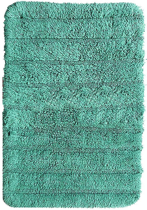Stripe Cotton Bath Mat Teal-Bath Mat-Rugs 4 Less