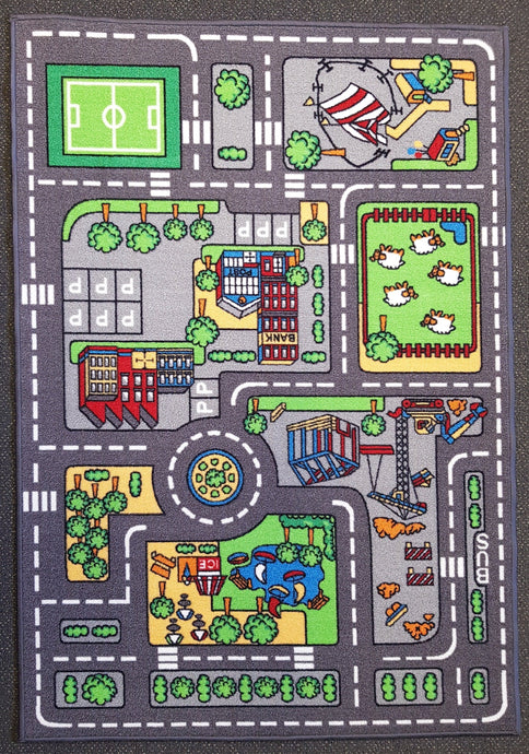 City Kids Car Mat in Size 110cm x 160cm-Rugs 4 Less