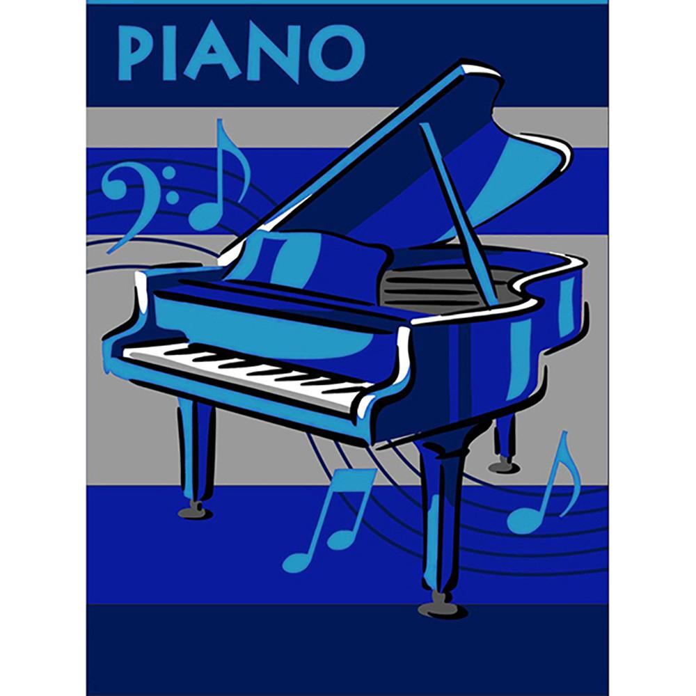 Piano Rug Blue 110x160cm-Theme Rug-Rugs 4 Less