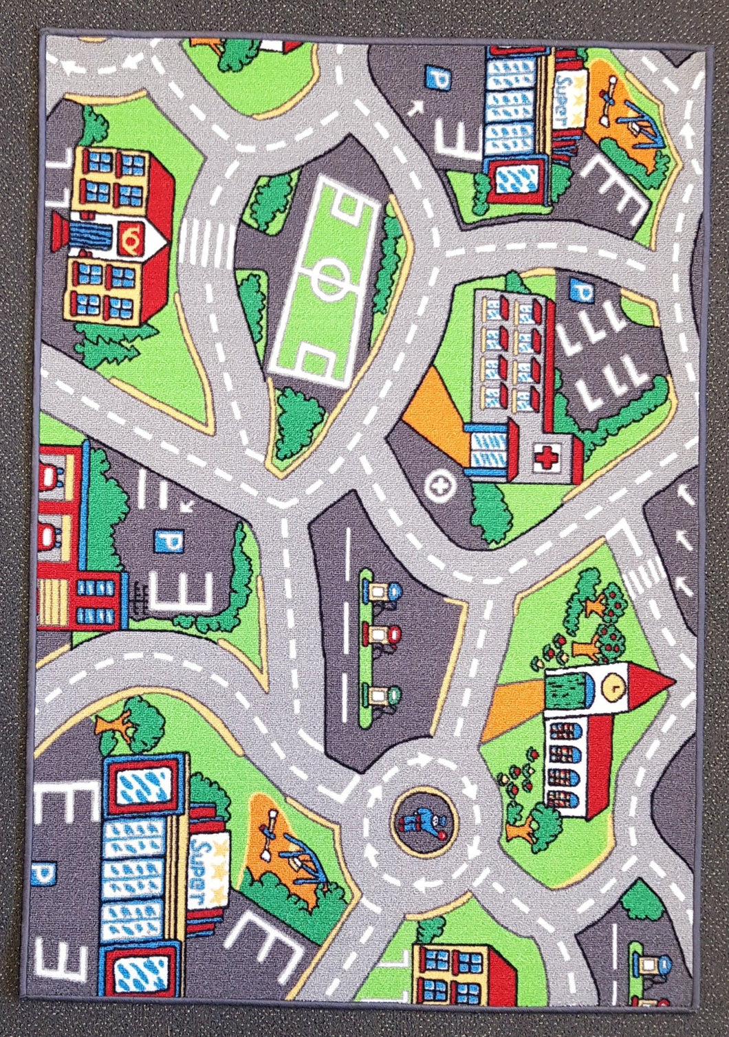 Street Derby Kids Road Rug in Size 110cm x 160cm-Rugs 4 Less