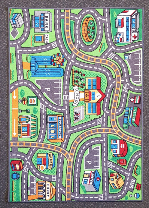 Suburb Kids Car Rug in Size 90cm x 130cm-Rugs 4 Less