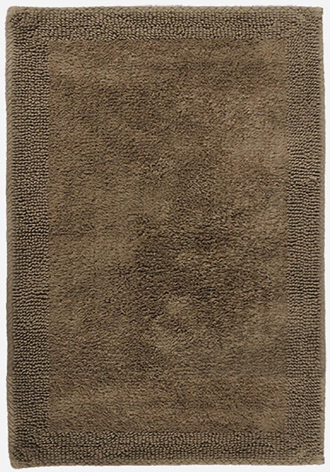 Border Cotton Bath Mat Brown-Bath Mat-Rugs 4 Less