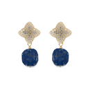Alicia Earring, Gold with Lapis Charm