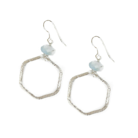 Levy Earring, Aqua Small, Silver
