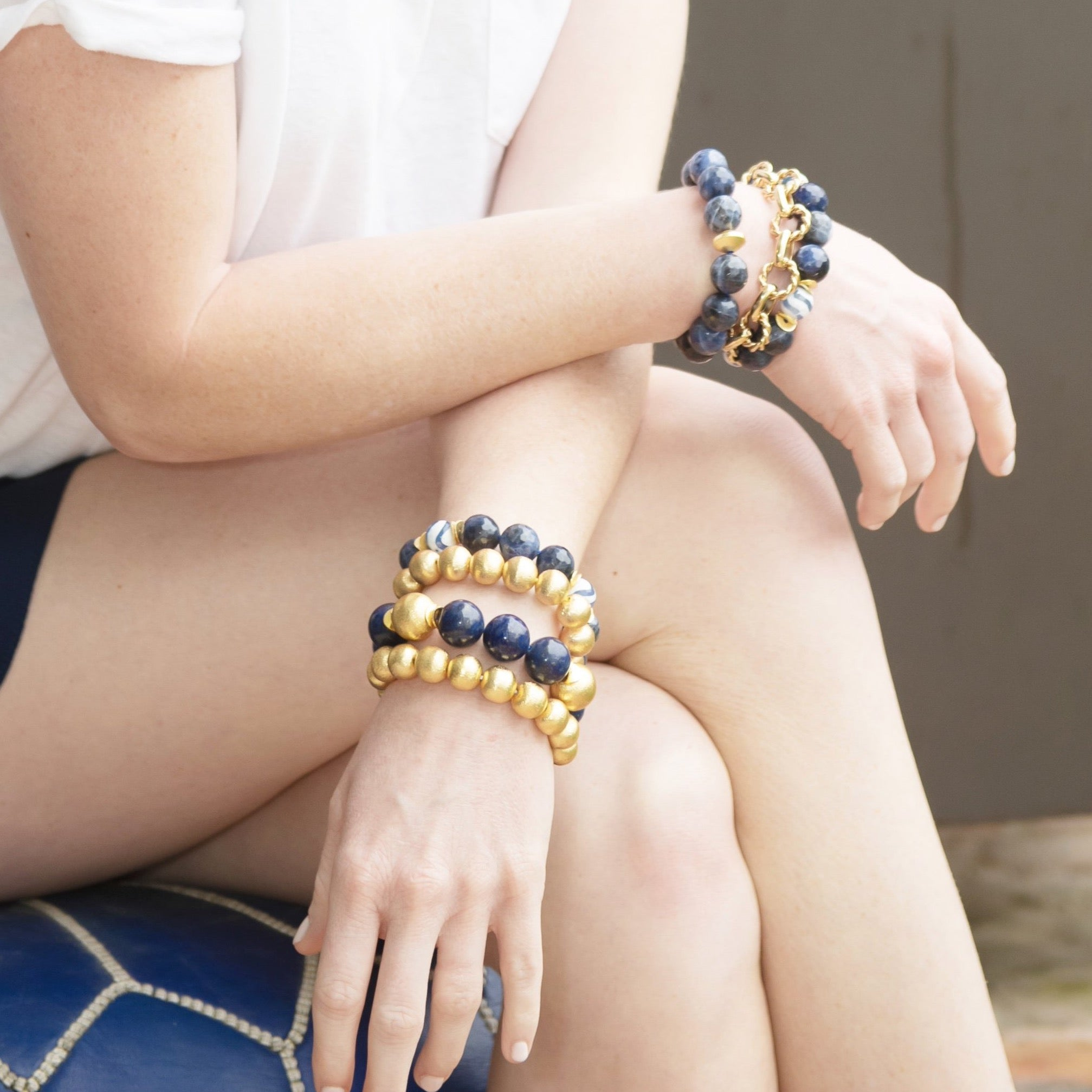 Sodalite navy and gold bracelet