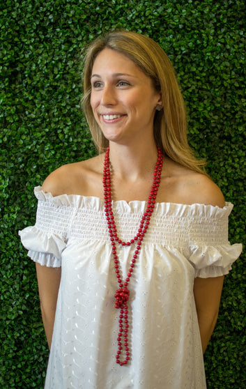 Knotted Red Necklace