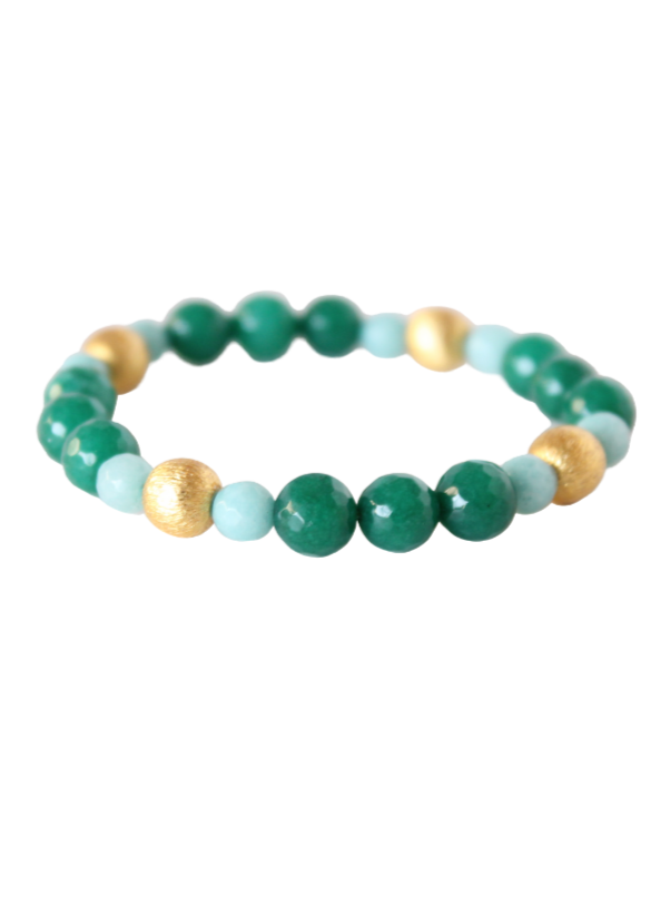 Blossom Bracelet, Emerald Green and Aqua