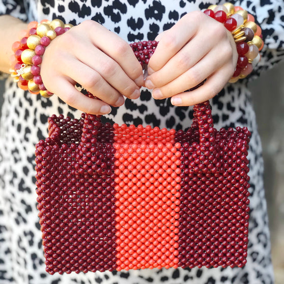 Katherine Handbag Mini, Mulberry and Coral