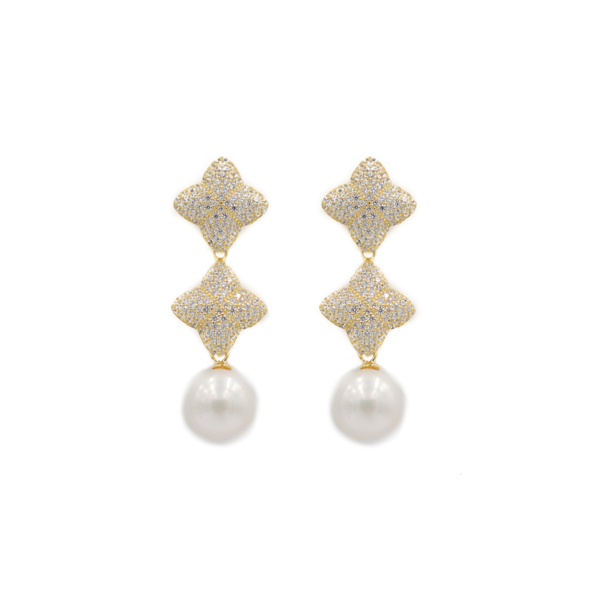 Alicia Double Earring, Gold with Pearl