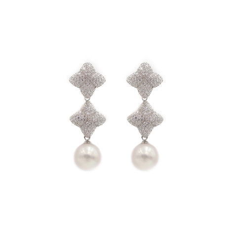 Alicia Double Earring, Silver with Pearl