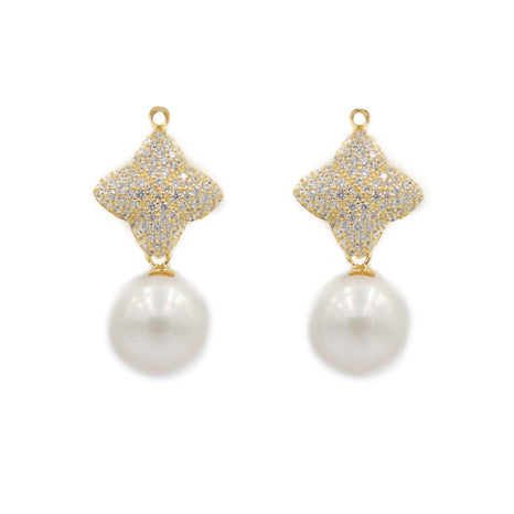 Alicia Earring Charms and Freshwater Pearls, Gold