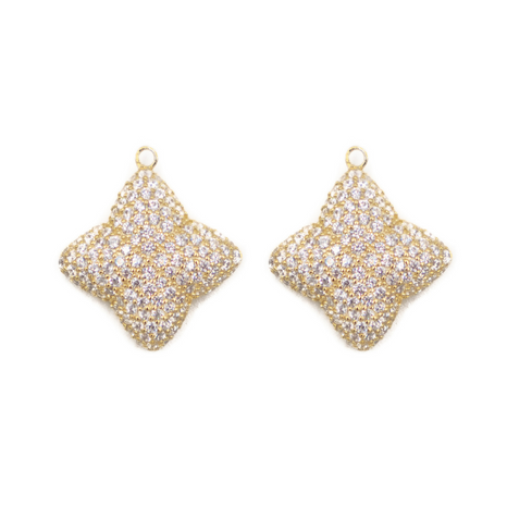 Alicia Large Pave Earring Charm, Gold