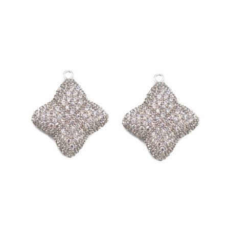 Alicia Large Pave Earring Charm, Silver