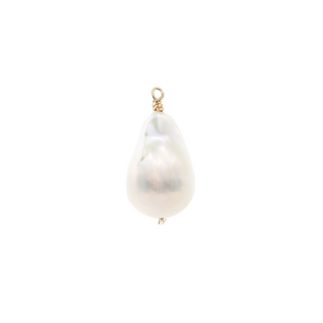 Alicia Necklace Charm, Baroque Pearl, Gold
