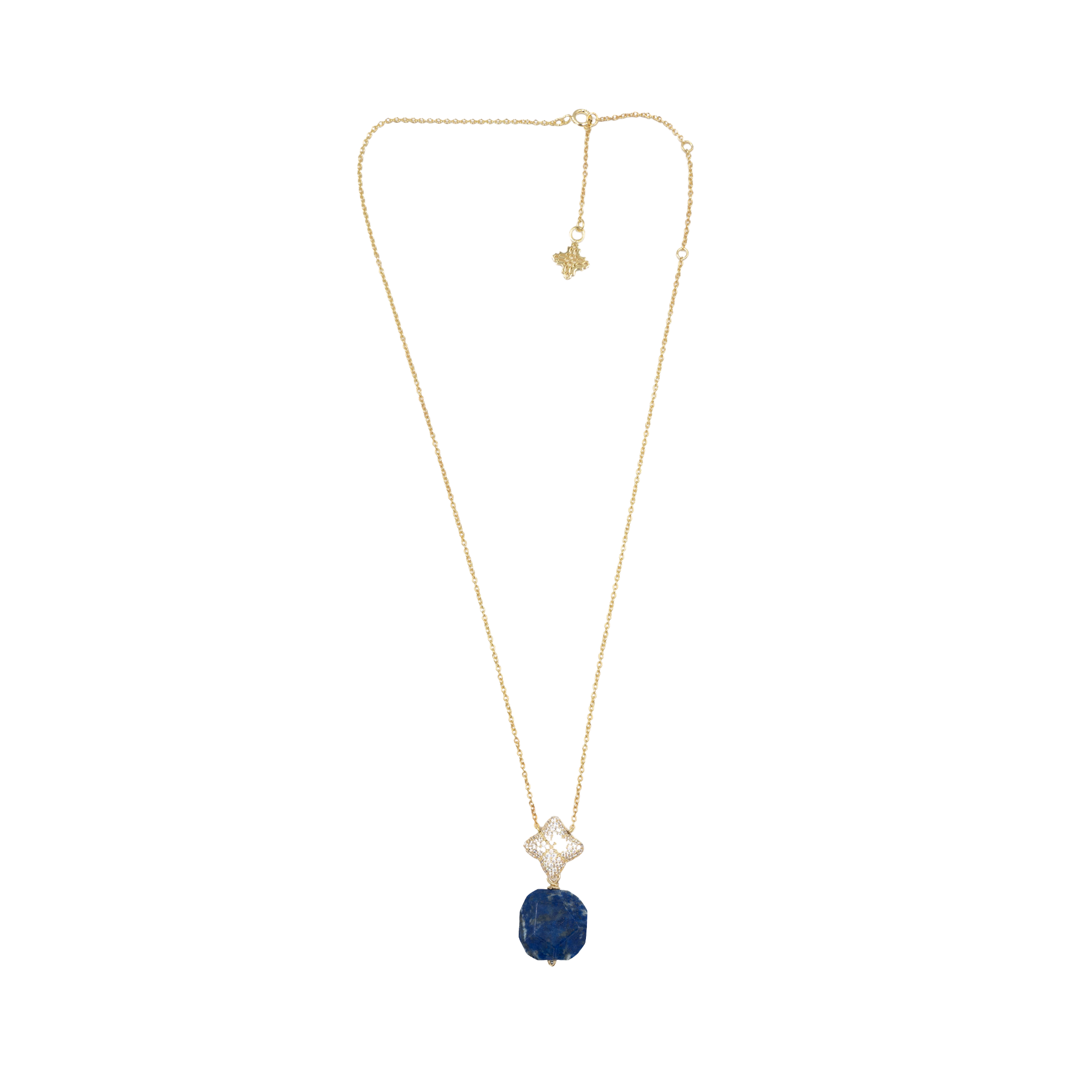 Alicia Necklace, Gold with Lapis Charm