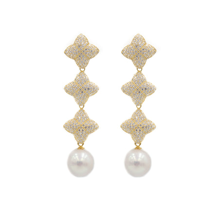 Alicia Triple Earring, Gold with Pearl