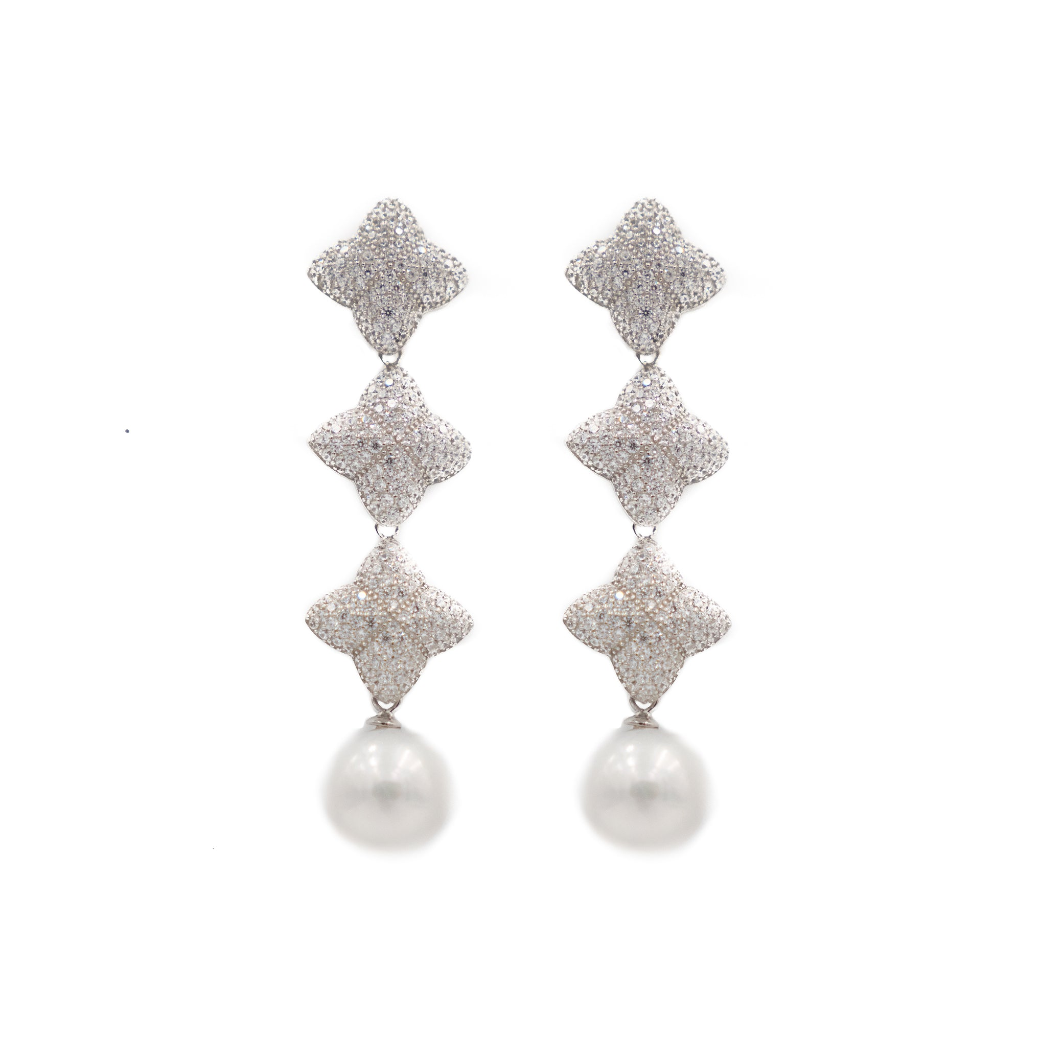 Alicia Triple Earring, Silver with Pearl
