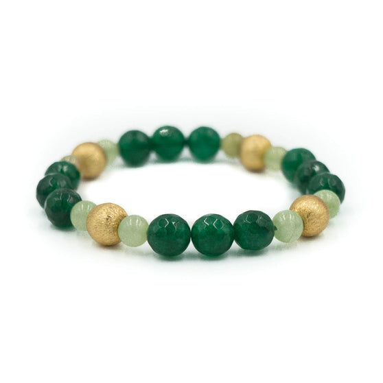 Blossom Bracelet, Emerald Green and Light Green Jade