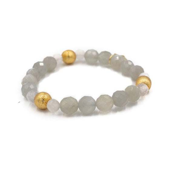 Blossom Bracelet, Gray Moonstone and Moonstone